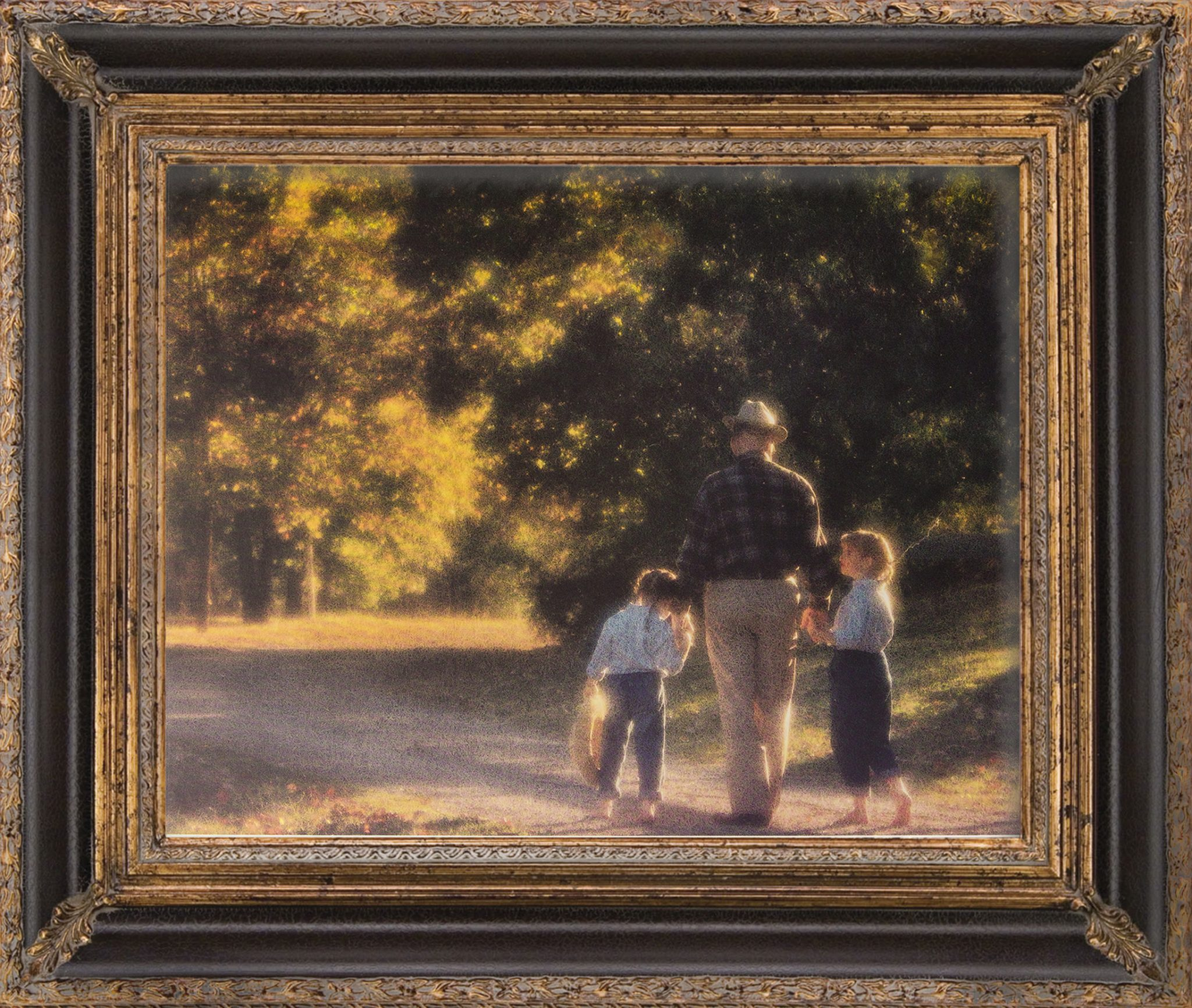 portrait of two young girls walking on a sunlit country road with grandpa